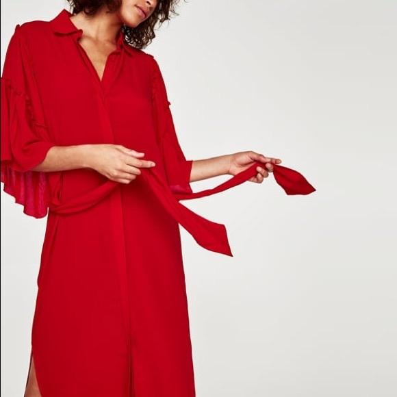 f762116c Zara Dresses | Nwt Red Ruffle Sleeve Flowing Shirt Dress | Poshmark